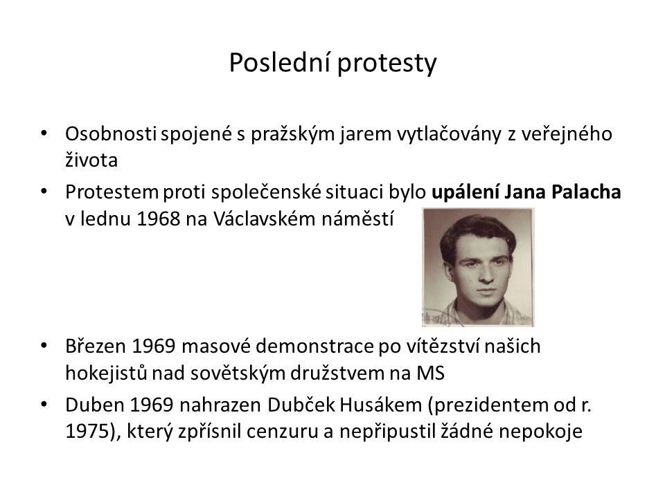 Poslední protesty Osobnosti spojené s pražským jarem vytlačovány z veřejného života.