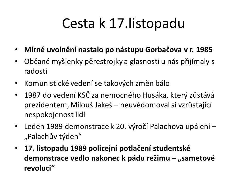 Cesta k 17.listopadu Mírné uvolnění nastalo po nástupu Gorbačova v r. 1985. Občané myšlenky pěrestrojky a glasnosti u nás přijímaly s radostí.