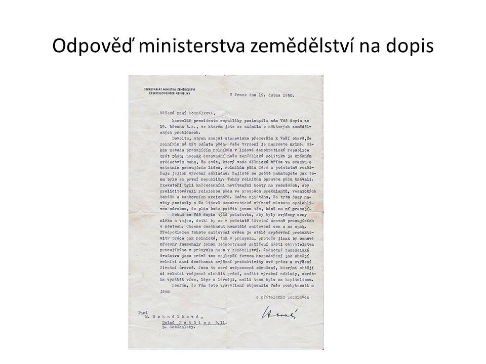 Odpověď ministerstva zemědělství na dopis