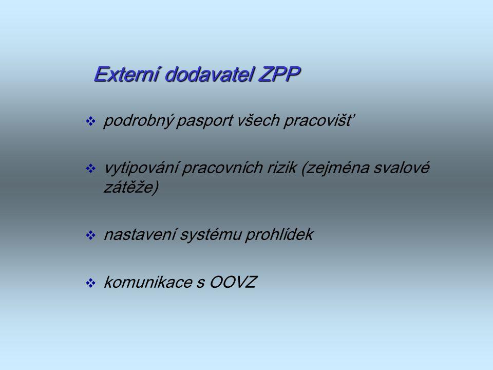 Externí dodavatel ZPP podrobný pasport všech pracovišť