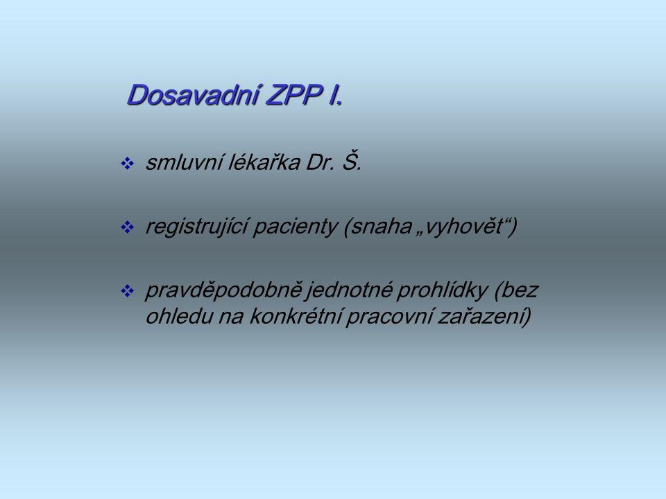 Dosavadní ZPP I. smluvní lékařka Dr. Š.
