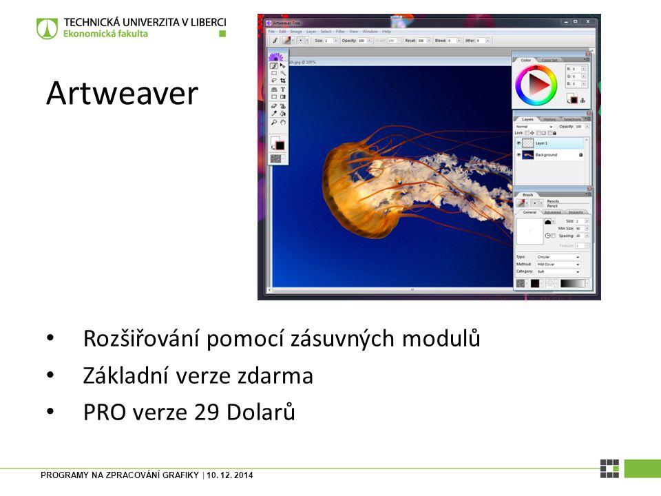 Artweaver Rozšiřování pomocí zásuvných modulů Základní verze zdarma