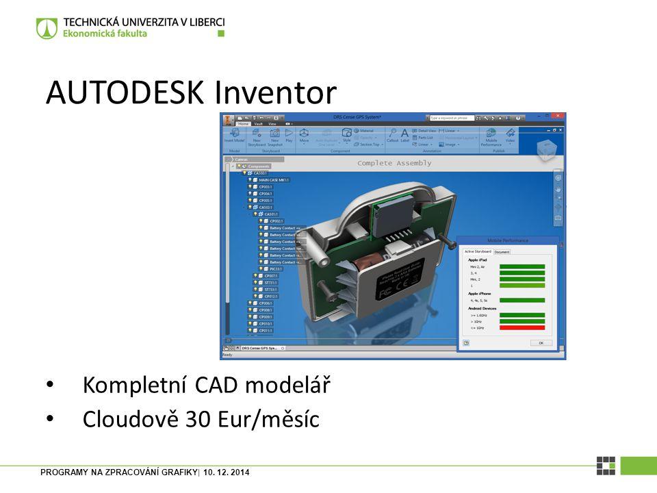 AUTODESK Inventor Kompletní CAD modelář Cloudově 30 Eur/měsíc