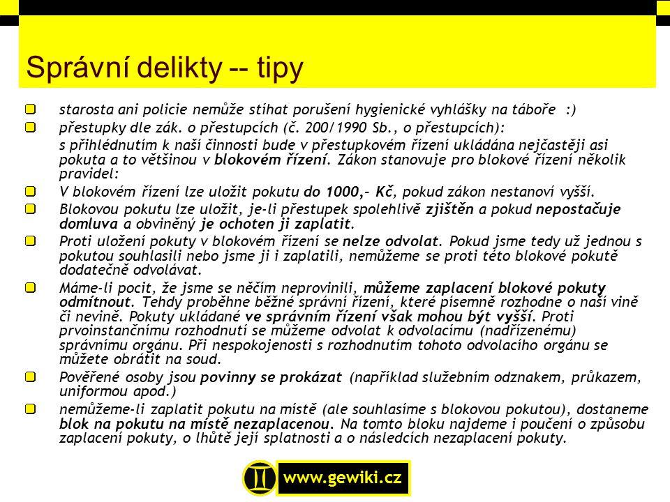Správní delikty -- tipy
