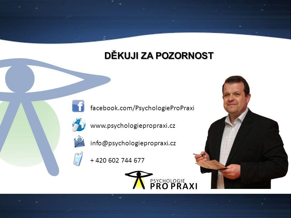 DĚKUJI ZA POZORNOST facebook.com/PsychologieProPraxi