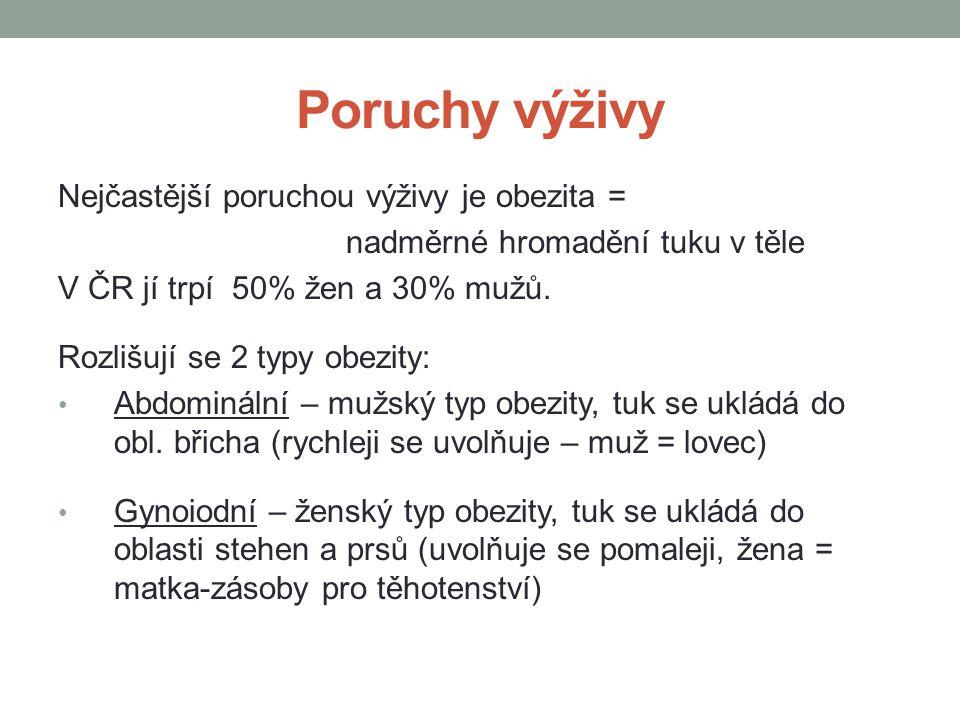 Poruchy výživy Nejčastější poruchou výživy je obezita =