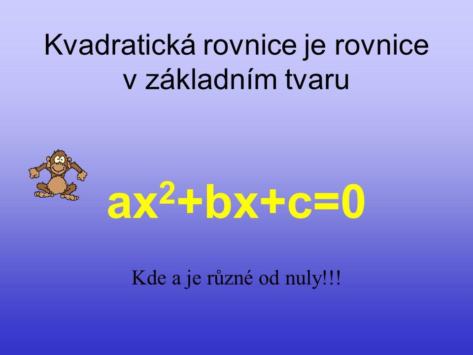 Kvadratická rovnice je rovnice v základním tvaru