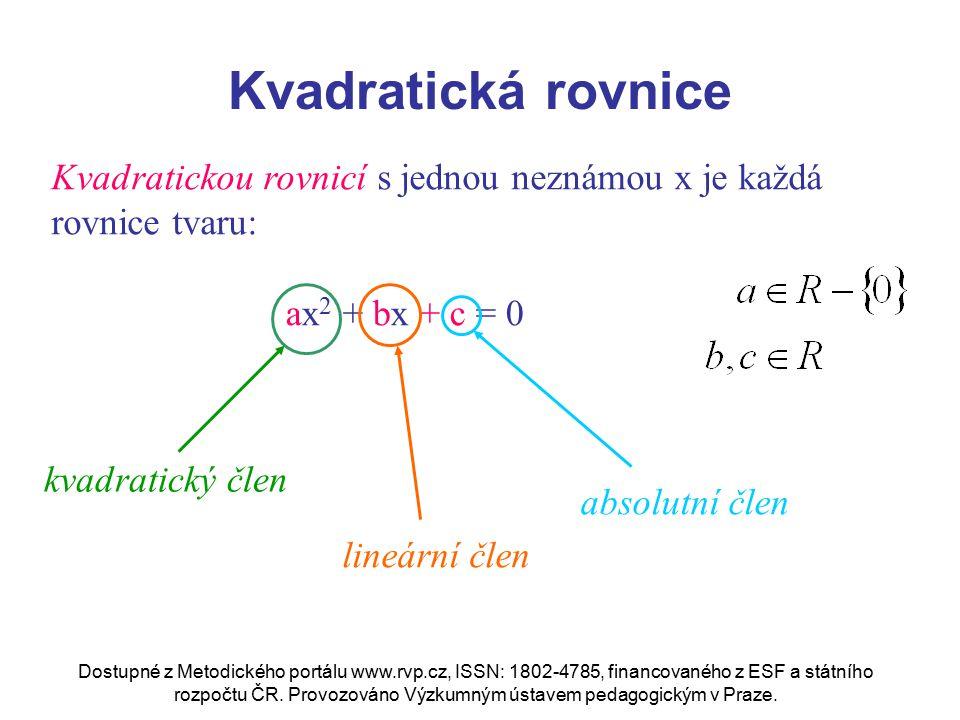 Kvadratická rovnice Kvadratickou rovnicí s jednou neznámou x je každá rovnice tvaru: ax2 + bx + c = 0.