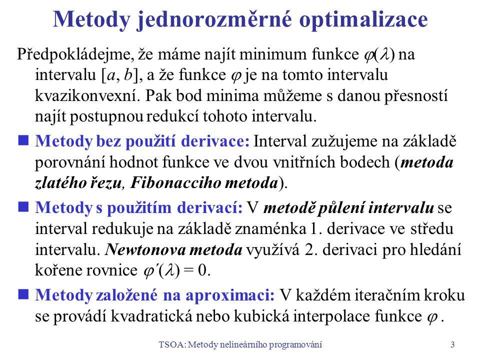 Metody jednorozměrné optimalizace