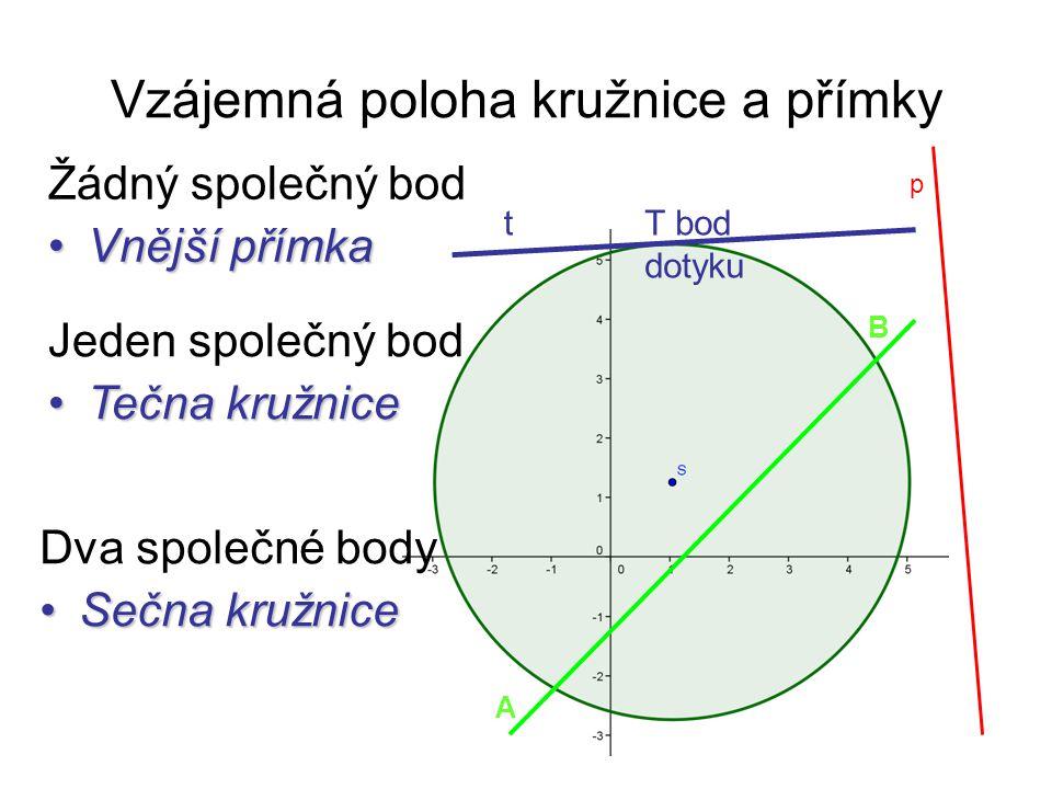 Vzájemná poloha kružnice a přímky