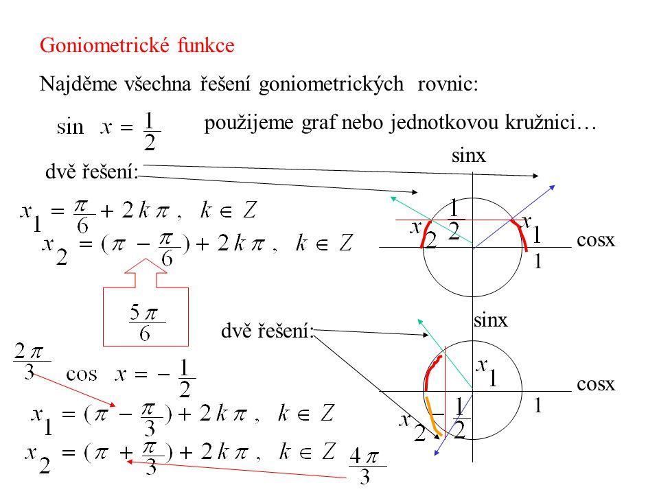 Goniometrické funkce Najděme všechna řešení goniometrických rovnic: použijeme graf nebo jednotkovou kružnici…