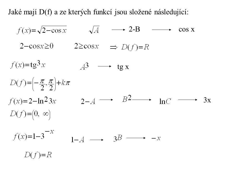 Jaké mají D(f) a ze kterých funkcí jsou složené následující: