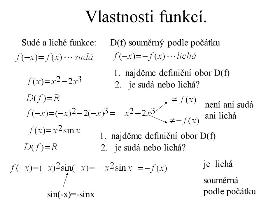 Vlastnosti funkcí. Sudé a liché funkce: D(f) souměrný podle počátku