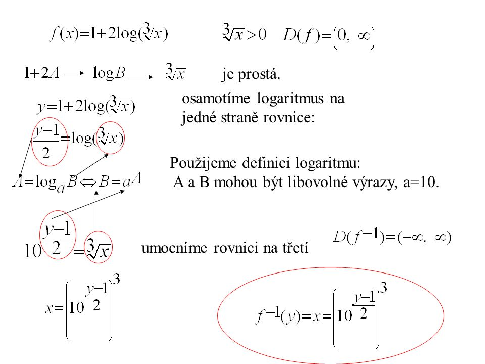 je prostá. osamotíme logaritmus na. jedné straně rovnice: Použijeme definici logaritmu: A a B mohou být libovolné výrazy, a=10.