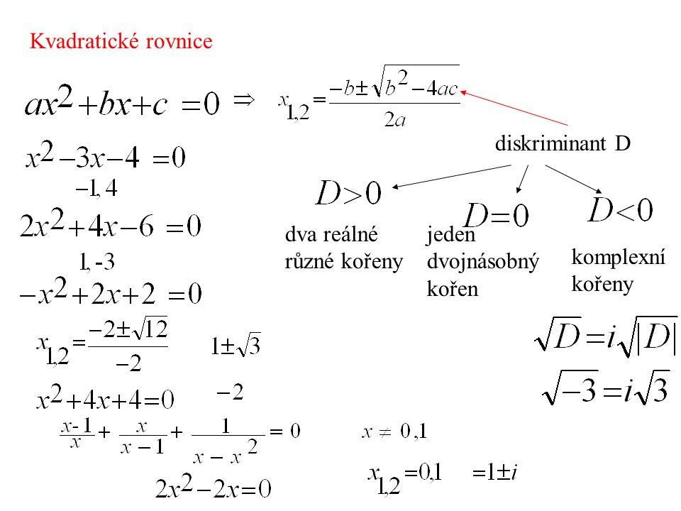 Kvadratické rovnice diskriminant D dva reálné různé kořeny jeden dvojnásobný kořen komplexní kořeny