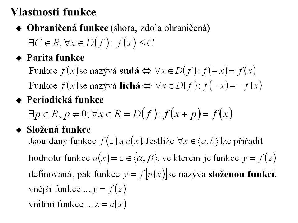 Vlastnosti funkce Ohraničená funkce (shora, zdola ohraničená)