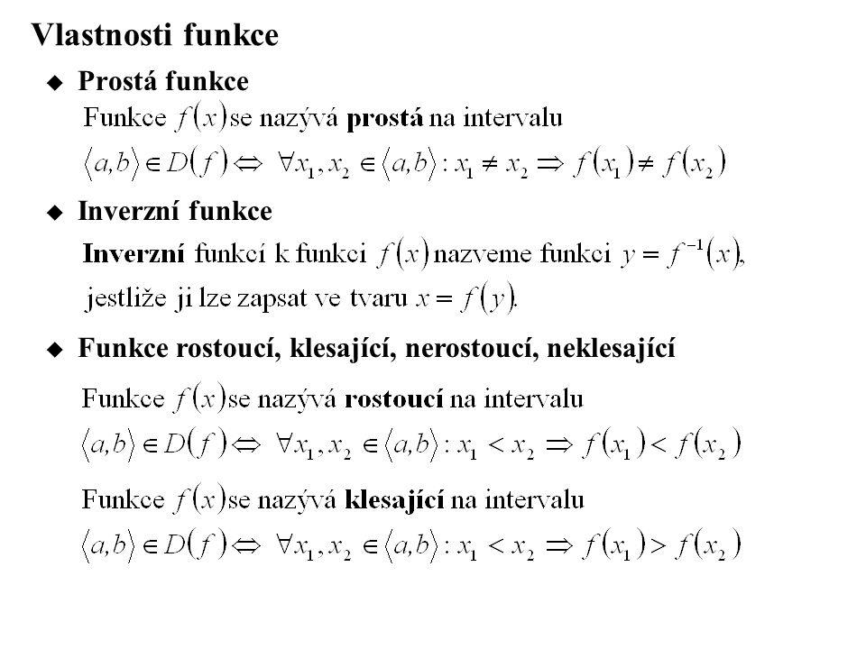 Vlastnosti funkce Prostá funkce Inverzní funkce