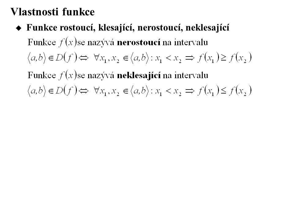 Vlastnosti funkce Funkce rostoucí, klesající, nerostoucí, neklesající