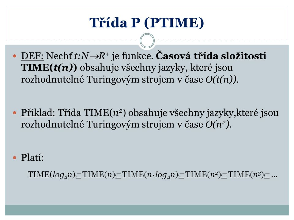 Třída P (PTIME)