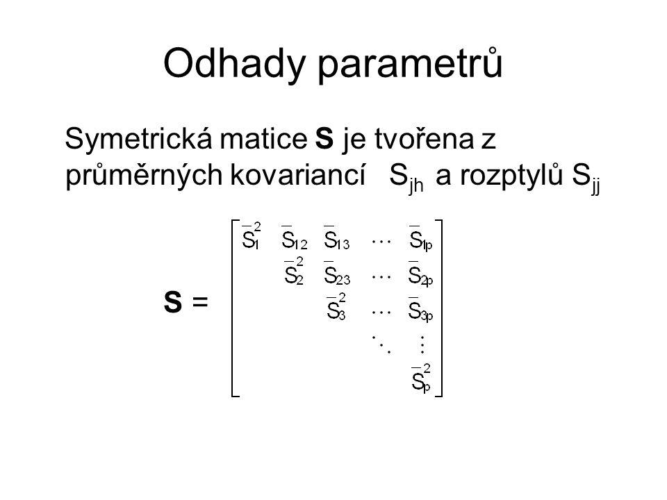 Odhady parametrů Symetrická matice S je tvořena z průměrných kovariancí Sjh a rozptylů Sjj S =