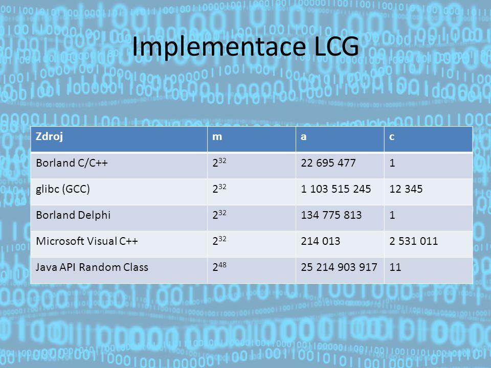 Implementace LCG Zdroj m a c Borland C/C++ 232 22 695 477 1