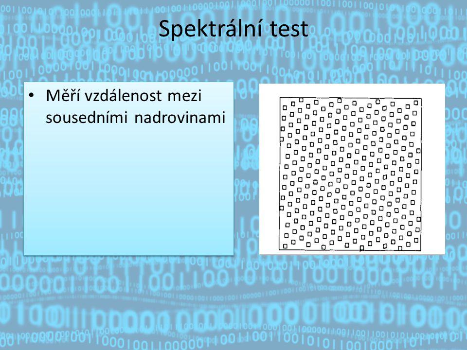 Spektrální test Měří vzdálenost mezi sousedními nadrovinami