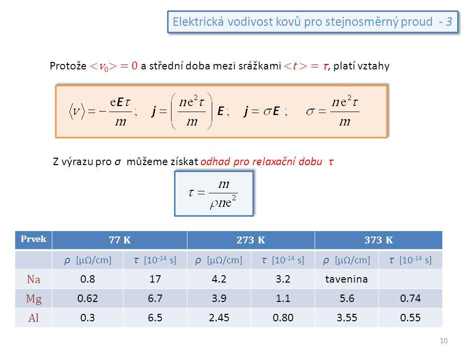Elektrická vodivost kovů pro stejnosměrný proud - 3