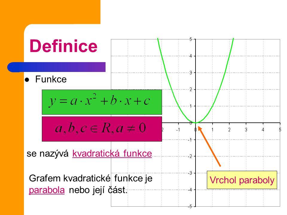 Definice Funkce y= a.x + b, se nazývá kvadratická funkce