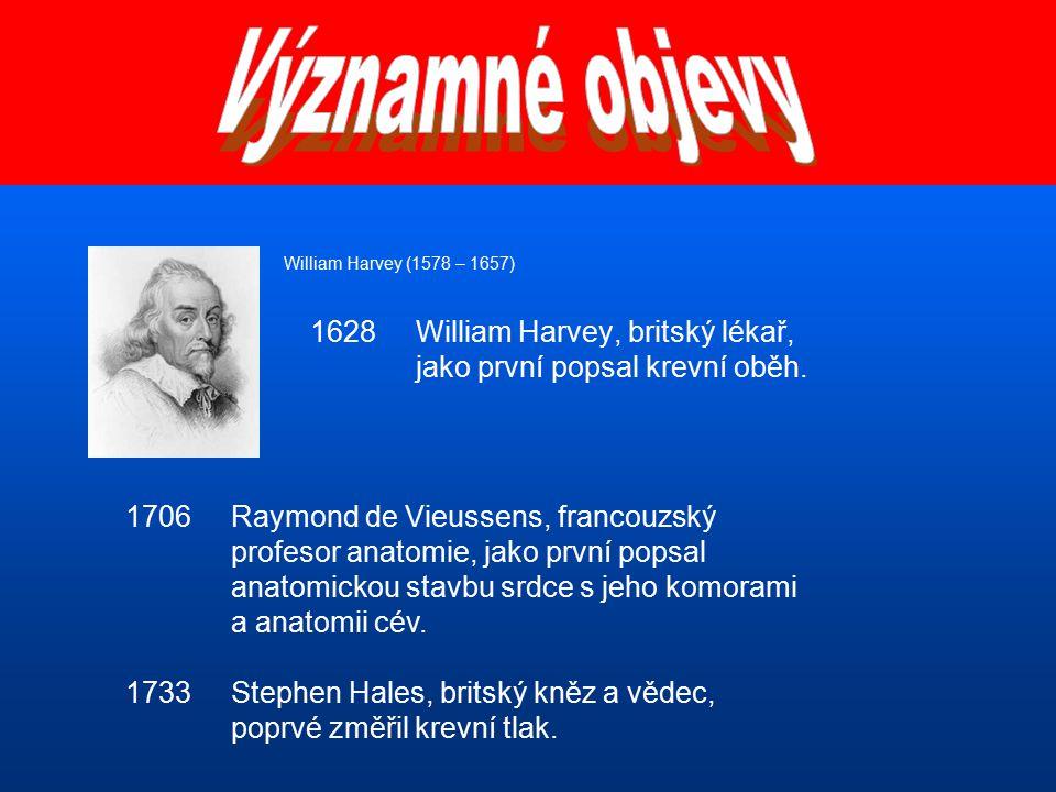 Významné objevy William Harvey (1578 – 1657) 1628 William Harvey, britský lékař, jako první popsal krevní oběh.