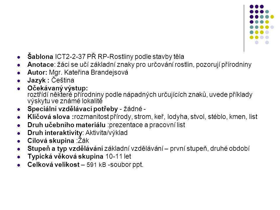 Šablona ICT2-2-37 PŘ RP-Rostliny podle stavby těla