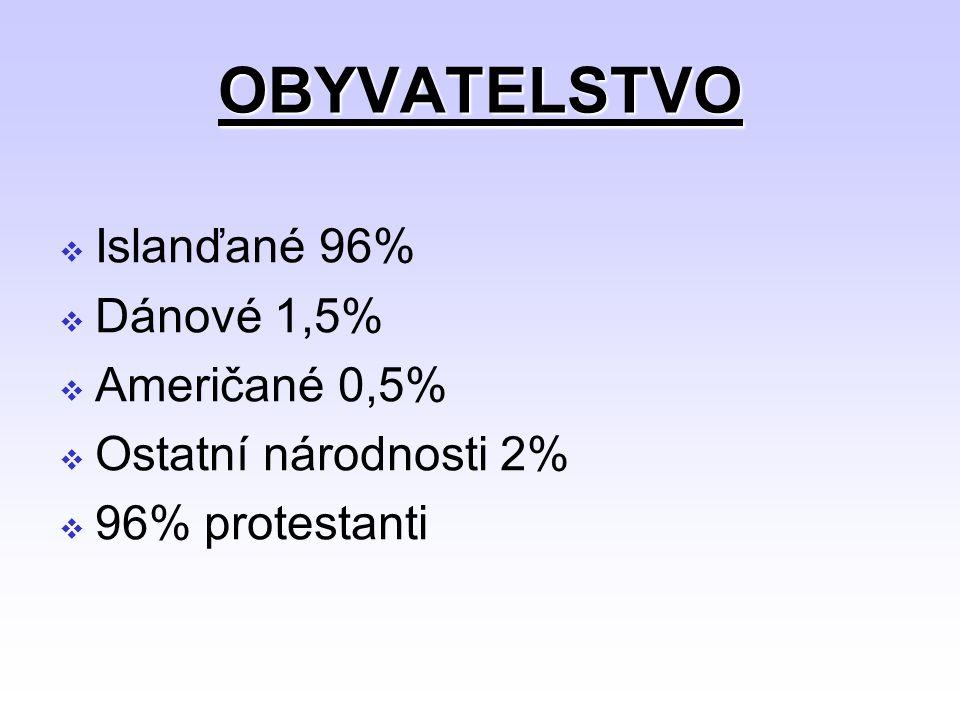 OBYVATELSTVO Islanďané 96% Dánové 1,5% Američané 0,5%