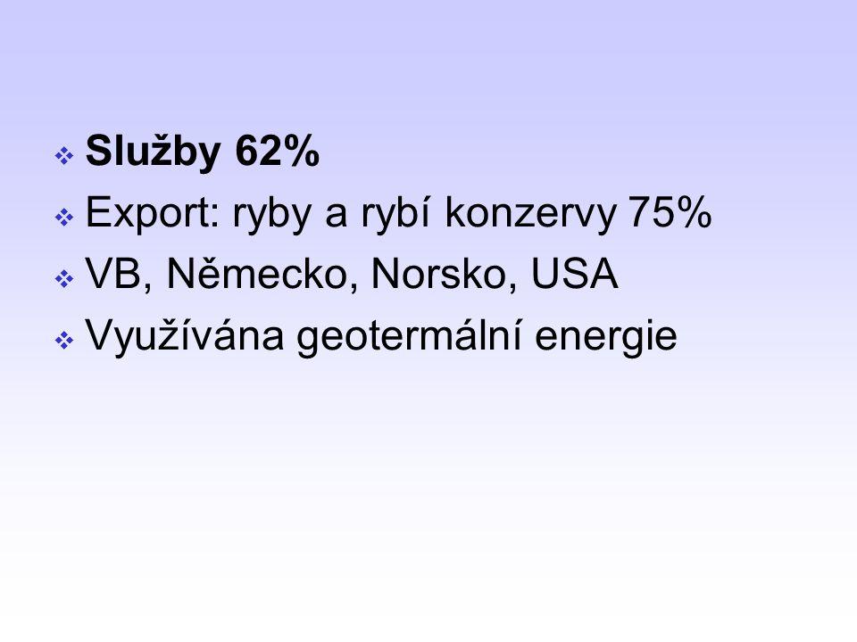 Služby 62% Export: ryby a rybí konzervy 75% VB, Německo, Norsko, USA Využívána geotermální energie