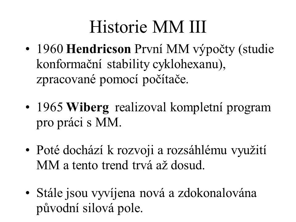 Historie MM III 1960 Hendricson První MM výpočty (studie konformační stability cyklohexanu), zpracované pomocí počítače.