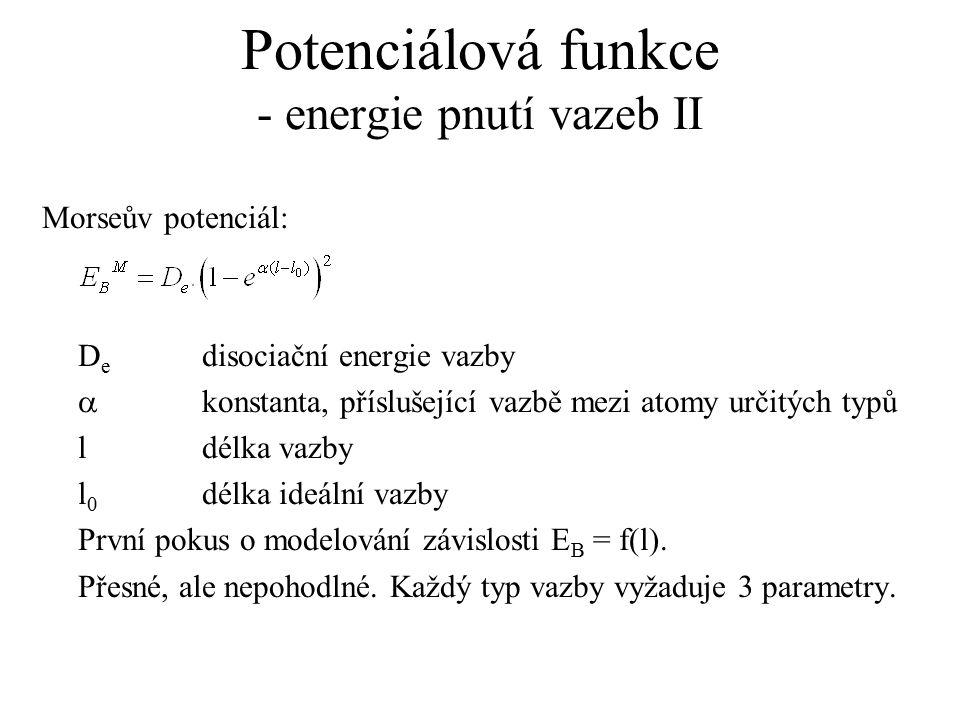 Potenciálová funkce - energie pnutí vazeb II