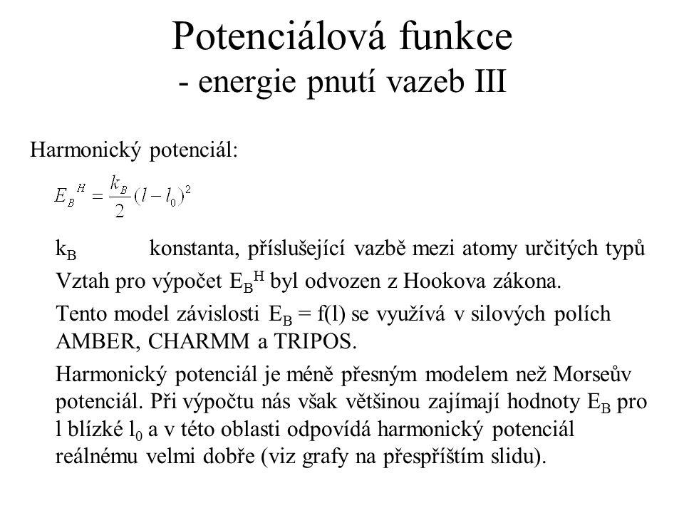 Potenciálová funkce - energie pnutí vazeb III