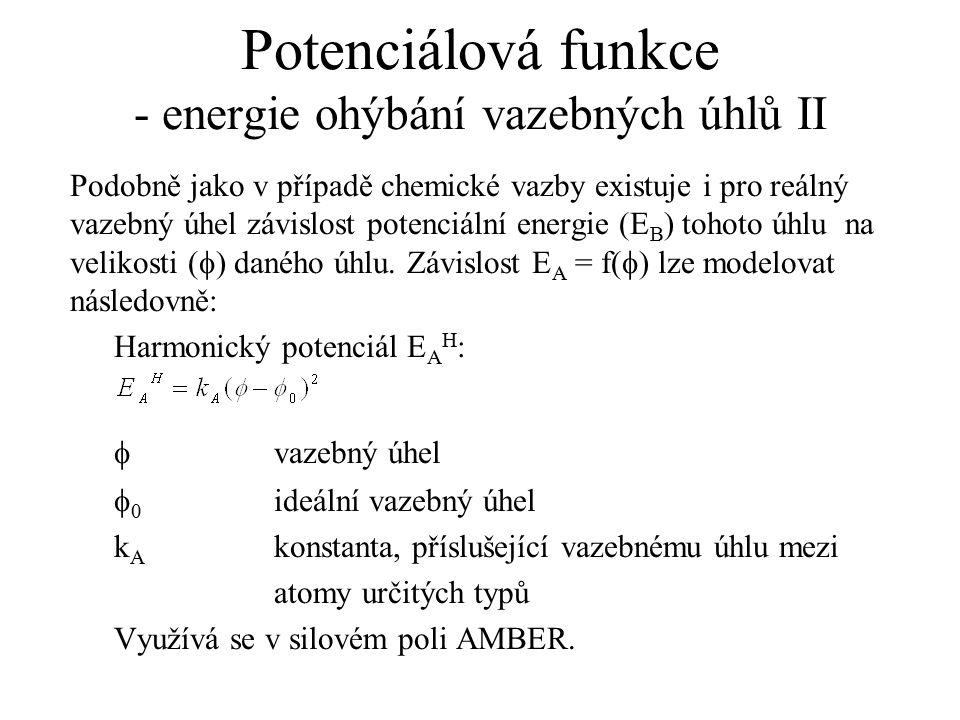 Potenciálová funkce - energie ohýbání vazebných úhlů II