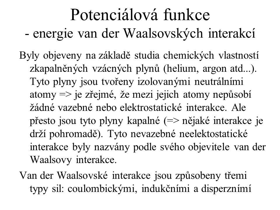 Potenciálová funkce - energie van der Waalsovských interakcí