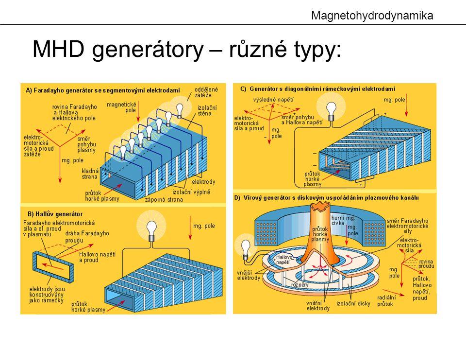 MHD generátory – různé typy:
