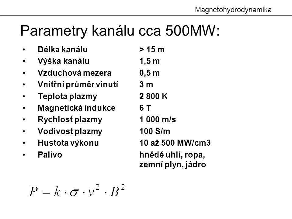 Parametry kanálu cca 500MW: