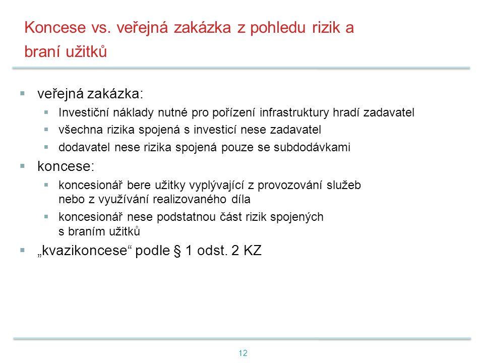 Koncese vs. veřejná zakázka z pohledu rizik a braní užitků