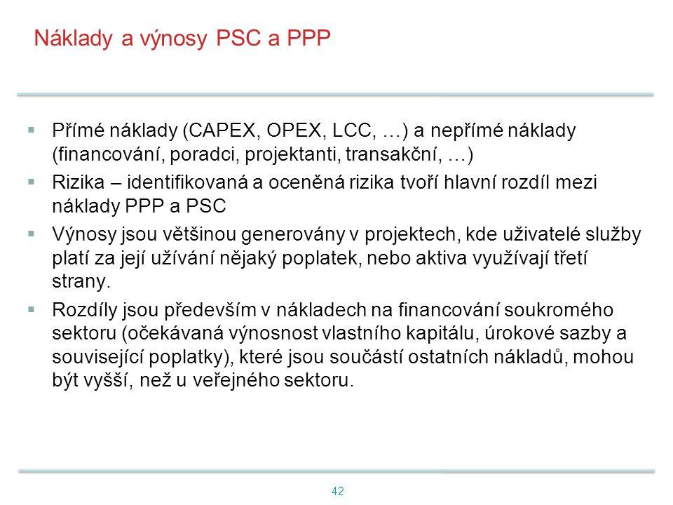 Náklady a výnosy PSC a PPP