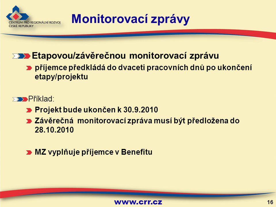 Monitorovací zprávy Etapovou/závěrečnou monitorovací zprávu