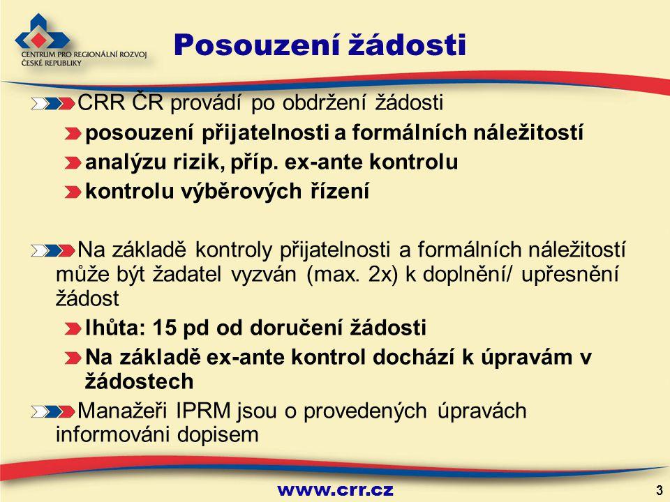 Posouzení žádosti CRR ČR provádí po obdržení žádosti