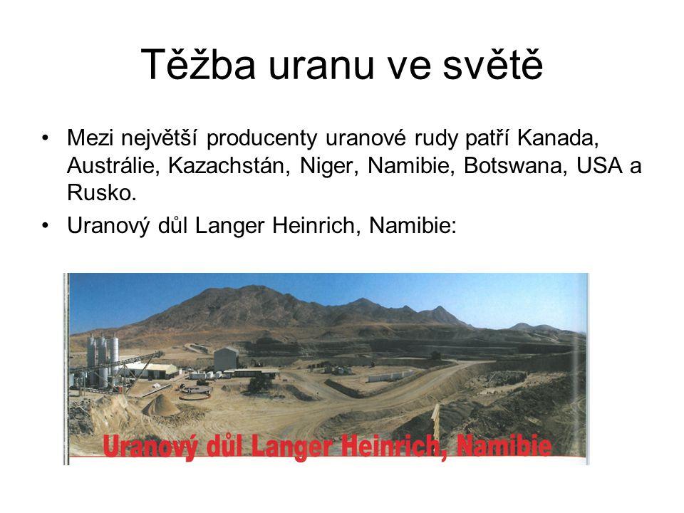 Těžba uranu ve světě Mezi největší producenty uranové rudy patří Kanada, Austrálie, Kazachstán, Niger, Namibie, Botswana, USA a Rusko.
