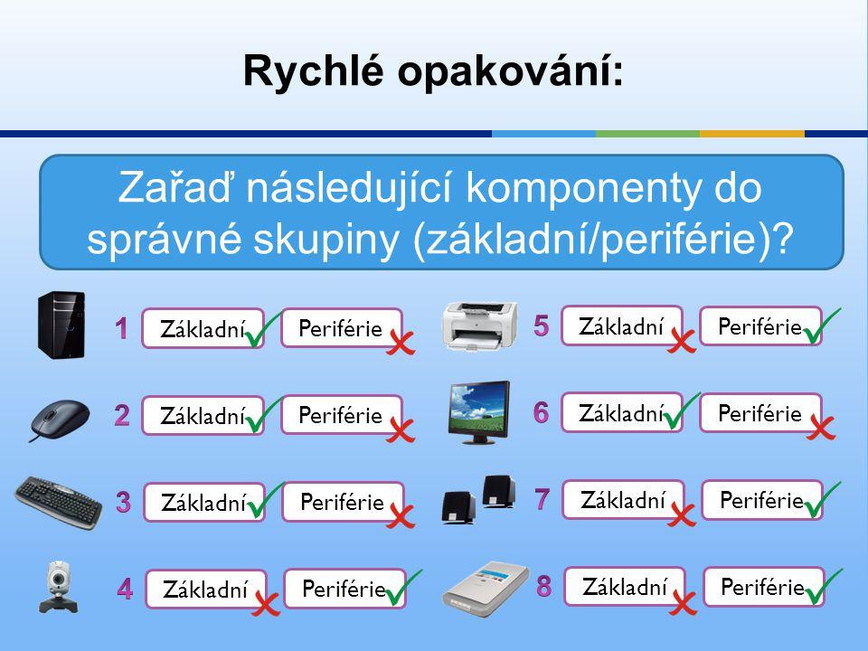 Zařaď následující komponenty do správné skupiny (základní/periférie)