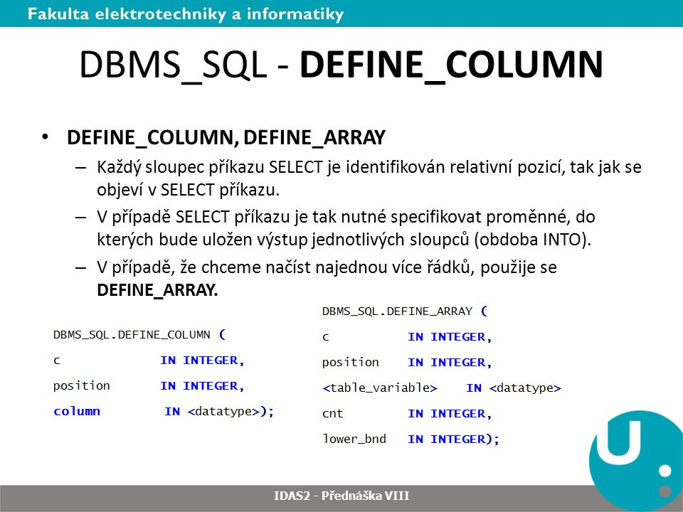 DBMS_SQL - DEFINE_COLUMN