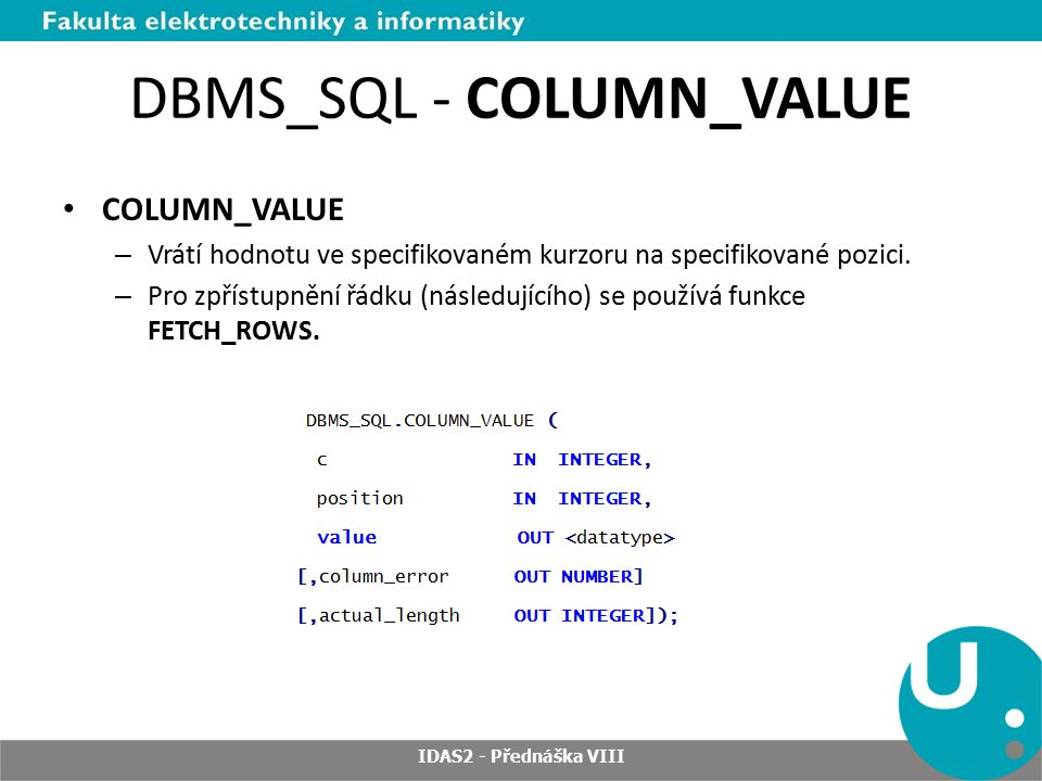 DBMS_SQL - COLUMN_VALUE