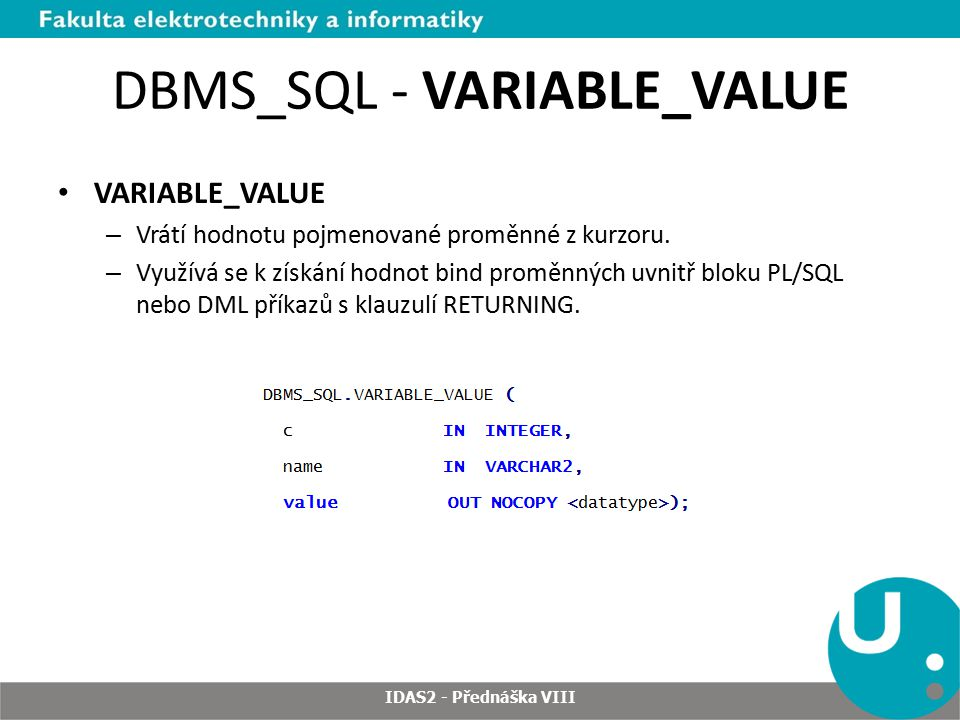 DBMS_SQL - VARIABLE_VALUE