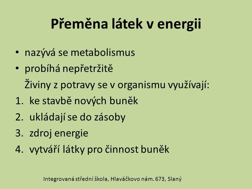 Přeměna látek v energii