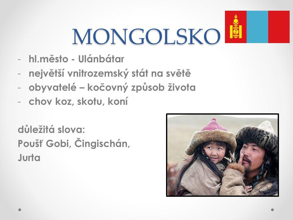 MONGOLSKO hl.město - Ulánbátar největší vnitrozemský stát na světě
